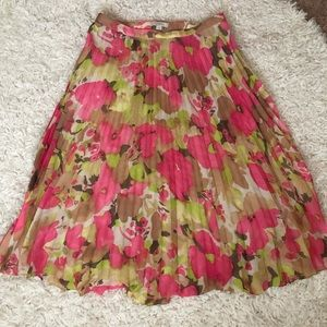 Ann Taylor LOFT Pleated Floral Midi Skirt